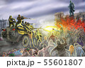 Scary zombie horde attack on an armored personnel 55601807