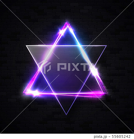 Neon light sign. David star on black brick wall background. Triangle banner with transparent glass 55605242