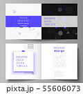 The vector illustration of the editable layout of two covers templates for square design bifold 55606073