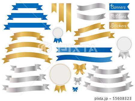 リボン バナー フレーム タグ ラベル シール セット 素材 金 ゴールド 銀 シルバー 青 ブルー 55608323