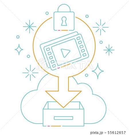 3色の線画のクラウド動画セキュリティ 55612657