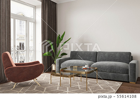 Empty room interior with sofa, armchair, table, carpet and plants. 55614108