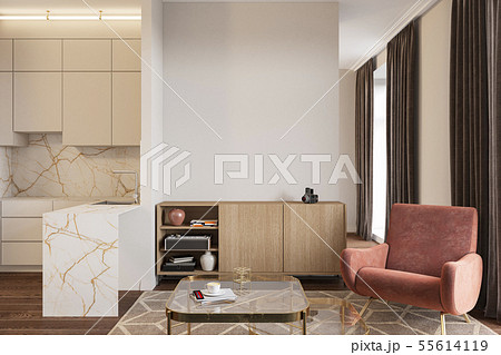 Empty room with coral armchair, console, coffee table and kitchen. 55614119