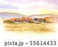 里山の風景 秋 水彩画 55614433