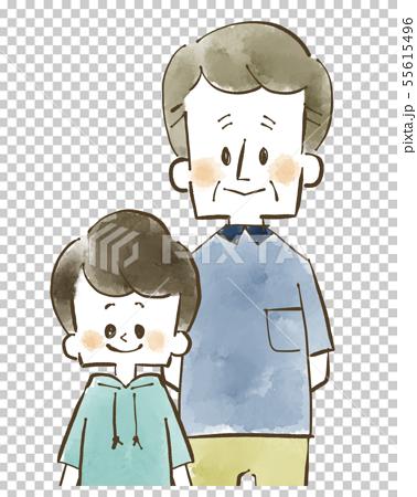 할아버지와 손자 - 미소 - 수채화 55615496