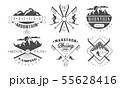 Mountain Camping and Skiing Retro Logo Templates Set, Wild Adventure Vintage Monochrome Labels 55628416
