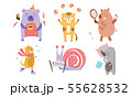 Cute Animals Different Activities Set, Adorable Humanized Animals Characters Engaged in Sports 55628532