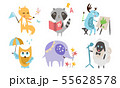 Cute Animals Different Activities Set, Adorable Humanized Animals Characters Playing, Reading Book 55628578