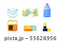 Travel Icons Set, Necessary Supplies for Trip and Traveling, Map, Bottle of Water, Radio, Medical 55628956