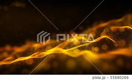 Digital abstract gold color wave particles flow 55680266