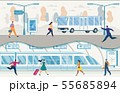 City Public Transport with Buses and Subway Vector 55685894