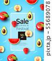 Tropical background for sale poster, banner design 006 55689078