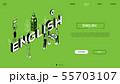 English language - line design style isometric web banner 55703107