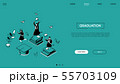 Graduation concept - line design style isometric web banner 55703109