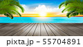Vacation background. Beach with palm trees and 55704891