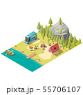Camping on mountain lake shore isometric vector 55706107