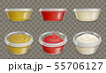 Plastic containers for sauces realistic vector set 55706127