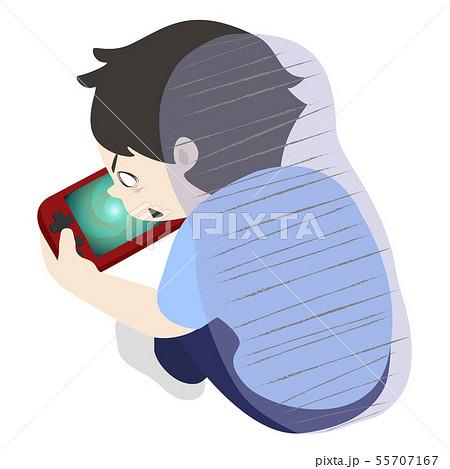 ゲームに夢中な男の子 (線なし 俯瞰 ゲーム依存 ゲーム障害 ゲーム依存症 ゲーム症) 55707167