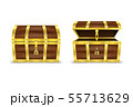 Vector 3d Realistic Closed and Opened Retro Vintage Antique Old Treasure Wooden brown Pirate Dower 55713629