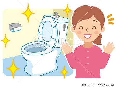 綺麗なトイレと笑顔の女性 55756298