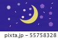 三日月の空に浮かぶ花模様 55758328