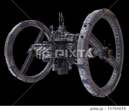 Future Space Station Isolated on Black Background 3D Illustration 55764059