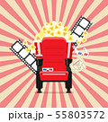 Cinema seats in a cinema with popcorn drinks and 55803572