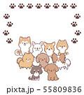 犬集合フレーム-足跡 55809836
