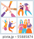 Set of four vector friendship motivation images with happy people. 55885874