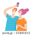 Vector illustration with happy couple takes selfie. 55885915