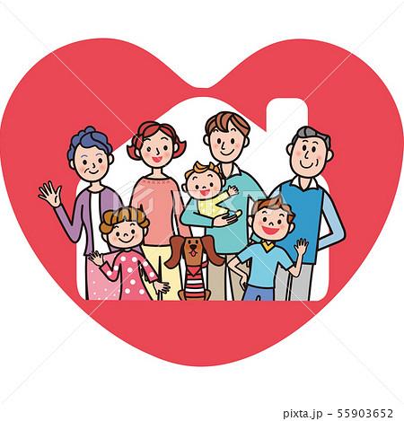 家 三世代家族 ハート 幸せ  55903652