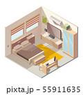 Comfortable bedroom interior isometric vector 55911635