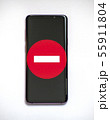 Traffic sign - no entry - on a smartphone screen 55911804