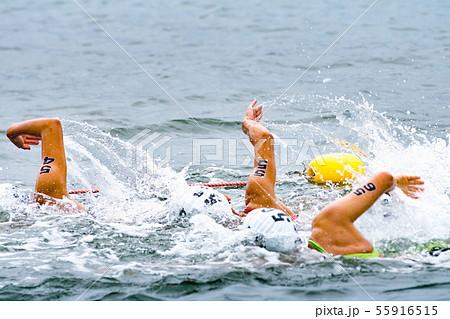 力泳するトライアスロン大会スイム競技者 55916515