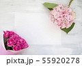 Pastel colored Hydrangea Flowers on White painted table 55920278