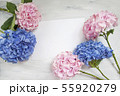 Pastel colored Hydrangea Flowers on White painted table 55920279