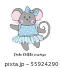 Cute vector Mouse character in blue dress. 55924290