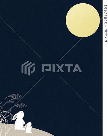 背景-和-和風-和柄-和紙-お月見-ウサギ-秋 55927461
