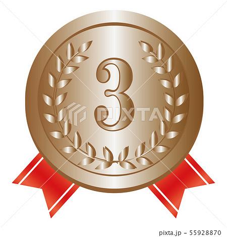 銅メダル 第3位 赤リボン 55928870