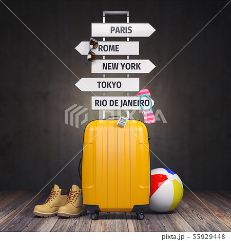 Yellow suitcase and signpost with travel 55929448