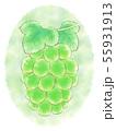 楕円粒のブドウ・緑・背景あり 55931913