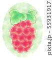 楕円粒のブドウ・赤・背景あり 55931917