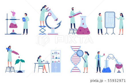 Working scientists. Professional lab research, chemistry laboratory workers and science researchers 55932971