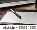 Close-up shot of graphics tablet with stylus 55934663
