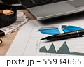 Pen and financial charts on the background   55934665
