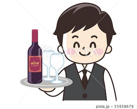 ウエイターと赤ワイン 55938679
