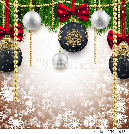 Merry Christmas Happy New Year background, fir 55944033