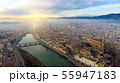 AERIAL. Panorama of the city of FLORENCE in Italy with the dome and Palazzo della Signoria and arno 55947183