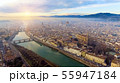 AERIAL. Panorama of the city of FLORENCE in Italy with the dome and Palazzo della Signoria and arno 55947184
