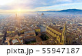 AERIAL. Panorama of the city of FLORENCE in Italy with the dome and Palazzo della Signoria and arno 55947187